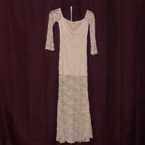 Light Pink Off Shoulder Lace Mini/Maxi dress